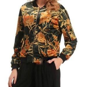 Zara   velvet floral bomber jacket